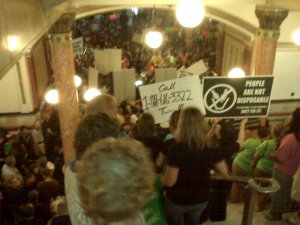 Doomsday rally in the state capitol today. (Photo posted originally at Capitol Fax Blog)