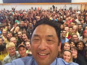 Deputy Director for Demand Reduction David Mineta at the Executive Office of the President, Office of National Drug Control Policy took a selfie before addressing the 550 Illinois at the Cebrin Goodman Teen Institute on Sunday.