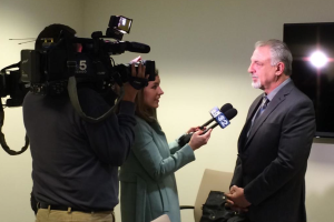 Springfield resident Tim Mercier interviewed before he testified before the House Human Services Appropriations Committee on April 1 against Gov. Bruce Rauner's proposed budget cuts to Illinois mental health services, explaining how those services helped turn his life around.